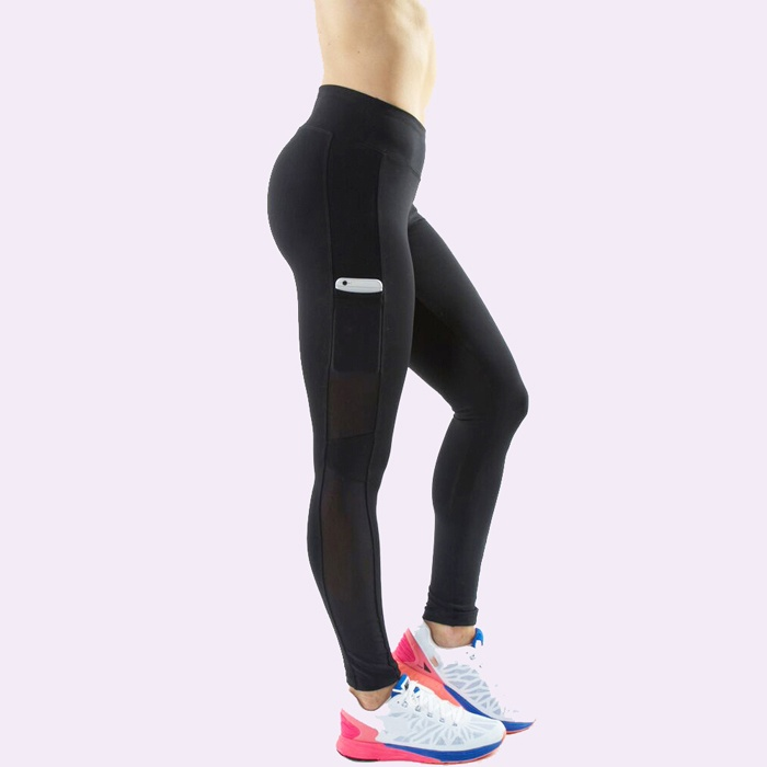 Women Fitness Black Tights Mesh Leggings With Pocket