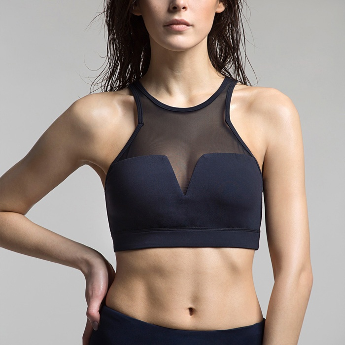 Black High Impact Mesh Sports Bra