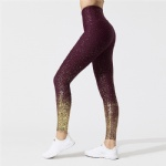 High Waisted Midi Leggings Shiny Golden Print